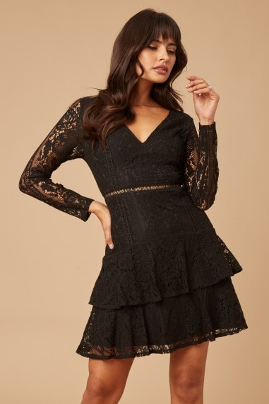 Sensation Black Lace Frill Mini Dress