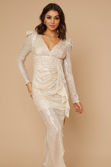 Baylor Champagne Sequin Frill Maxi Dress