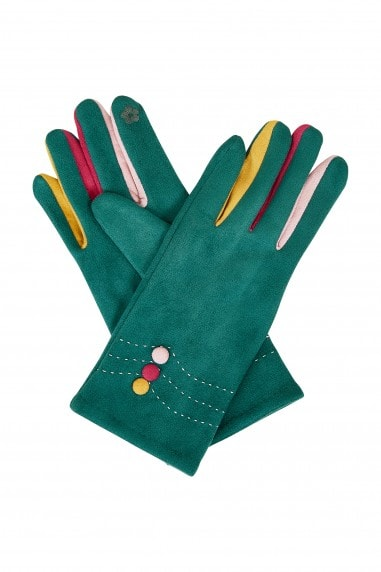 Teal Gloves With Multi Colour Fingers