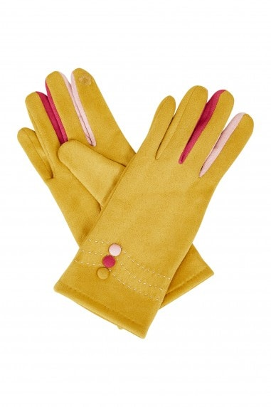 Mustard Gloves With Multi Colour Fingers