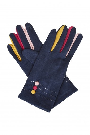 Navy Gloves With Multi Colour Fingers