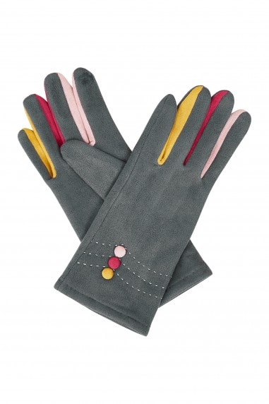 Grey Gloves With Multi Colour Fingers