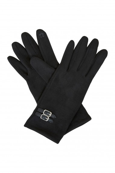 Black Gloves With Buckle Detail