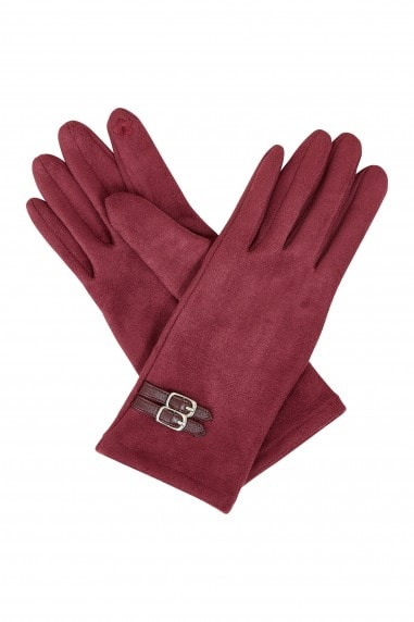 Burgundy Gloves With Buckle Detail