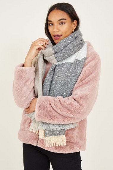 Grey Colour Block Scarf