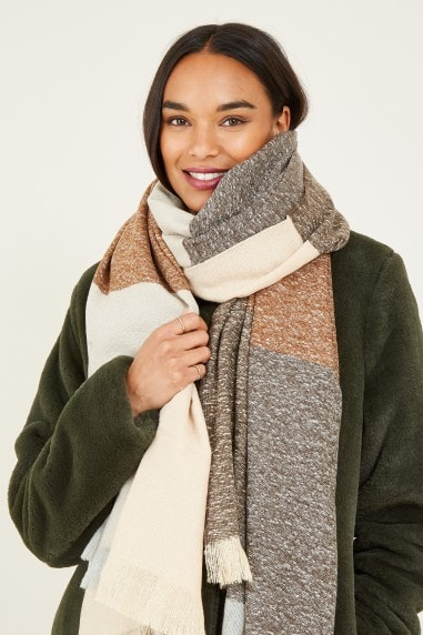 Cream Colour Block Scarf