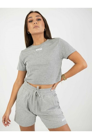Cropped Grey Mix & Match Lounge Tee