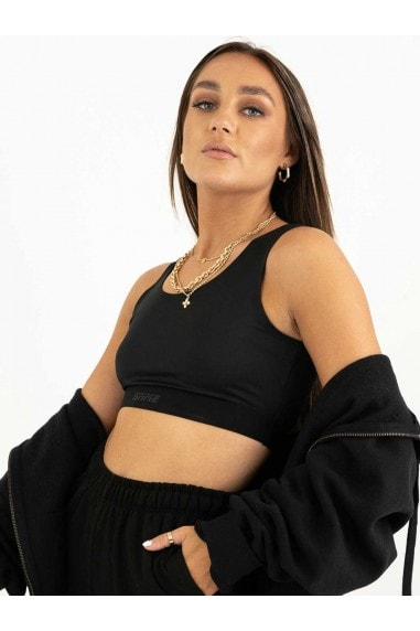 Black Scoop Neck Contour Crop Top