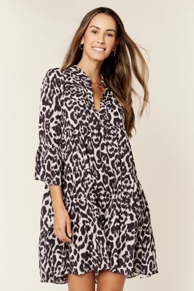 Animal Print Smock Oversized Tiered Mini Dress