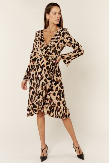 Long Sleeve Wrap Midi Dress in Leopard Print