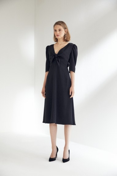 Black Midi Dress with Kimono Sleeve