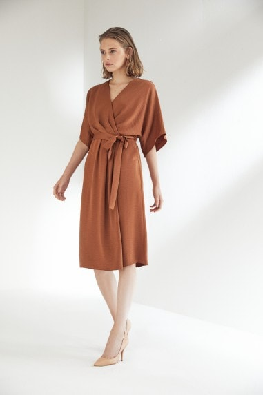 Camel Wrap Midi Dress with Kimono Sleeves