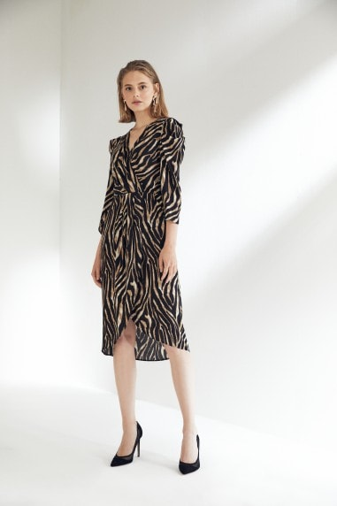 Leopard Print Midi Dress with Kimono sleeves
