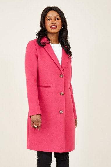 Pink Crombie Coat With Heart Lining