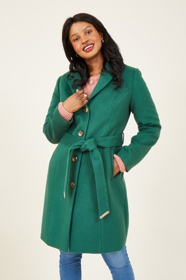 Green Belted Coat With Spot Lining