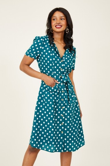 Green Spot Retro Shirt Dress