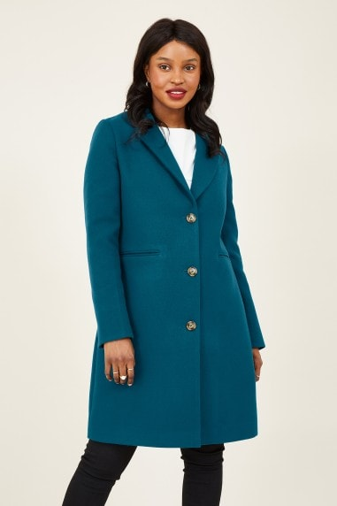 Teal Crombie Coat With Heart Lining
