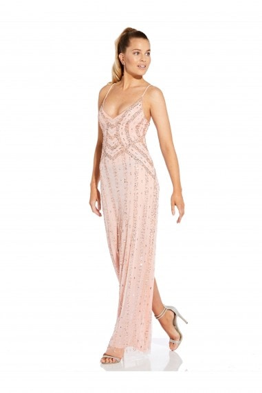Beaded Tank Column Gown