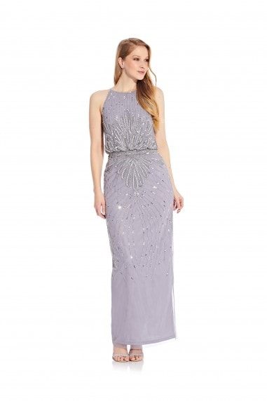 Beaded Halter Blouson Gown
