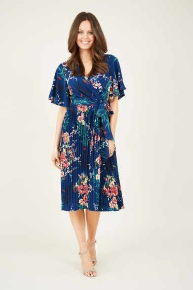 Wrap Front Floral Pleated Dress