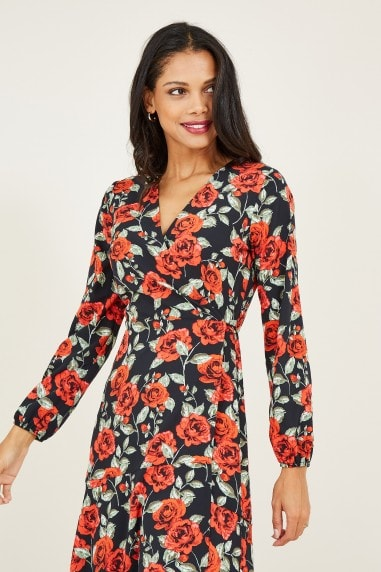 Rose Printed Dipped Hem Wrap Dress