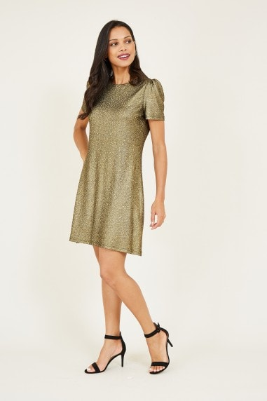 Foil Textured Puff Sleeve Dress