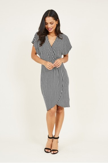 Wrap Front Dogtooth Printed Dress