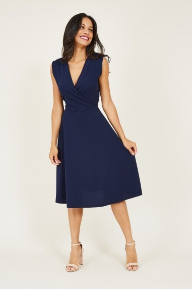 Wrap Front Sleeveless Midi Dress