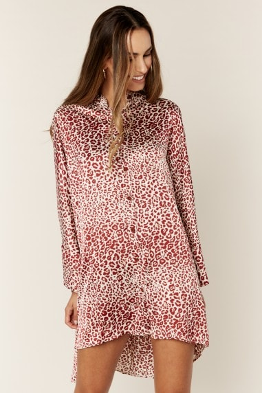 Oversized Leopard Print Hi Low Shirt Dress