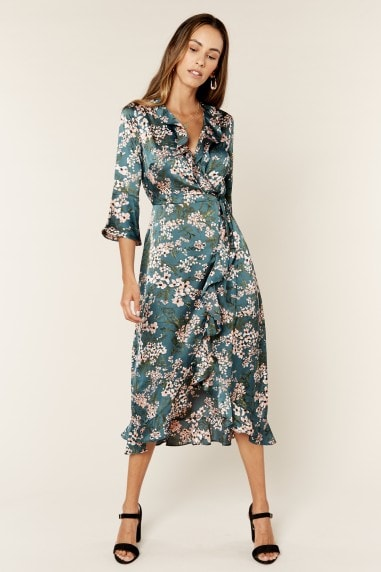 Satin Green Floral Print Midi Wrap Dress