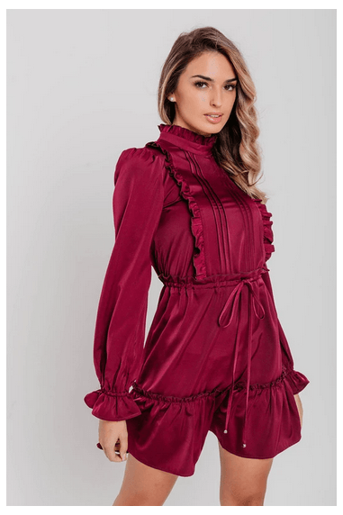 Burgundy Ruffle Binding Detail Satin Shirt Dress