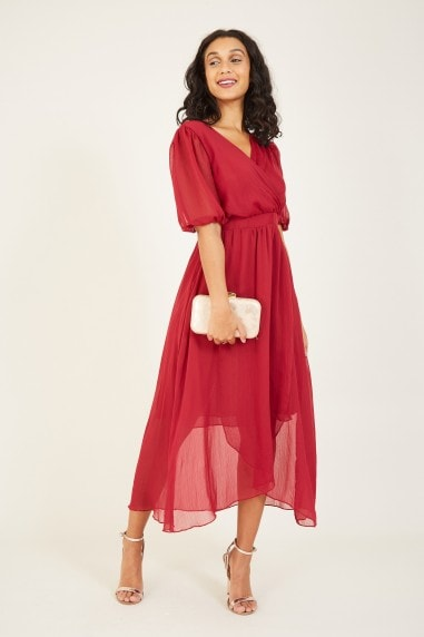Burgundy Wrap Over Midi Dress