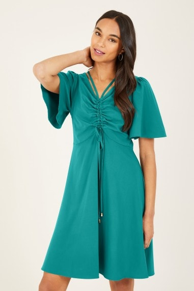 Blue Frill Sleeve Dress With Neck Detail