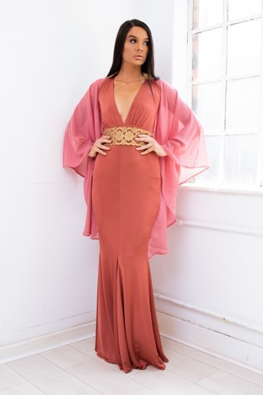 Jeweled Grecian evening gown