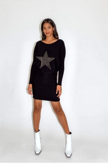 Black Star Dress with Loose Fit