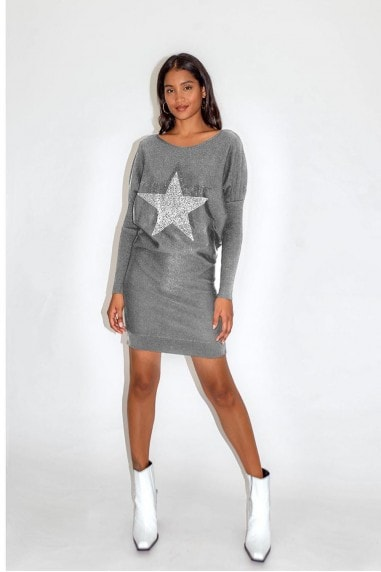 Light Grey Star Dress with Loose Fit