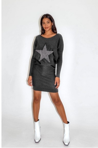 Dark Grey Star Dress with Loose Fit