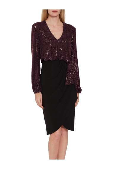 Anara Sequin And Jersey Dress