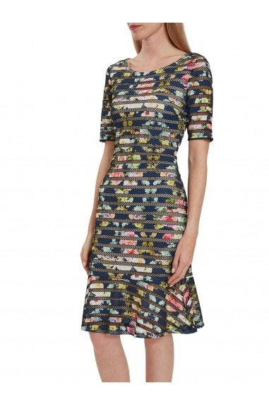 Mira Floral Print Stripe Dress