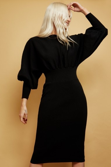 Black Knit Puff Sleeve Dress