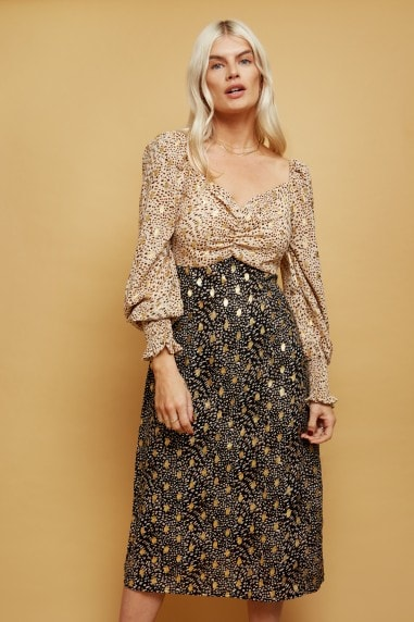 Lima Red Mixed-Print Gold Foil Midi Tea Dress