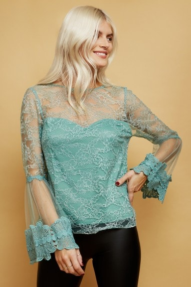Carnation Sage Lace Flute Sleeve Top