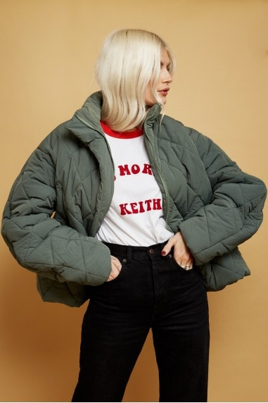 Bounty Fern Green Quilted Puffer Jacket