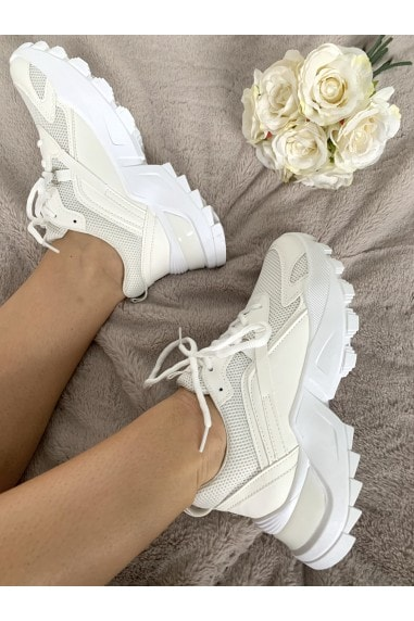 White Chunky Cleated Sole Trainer