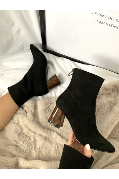 Black Suede Back Ring Pull Feature Heel Boot