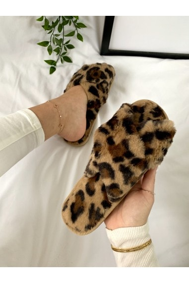 Brown Leopard-Print Faux-Fur Crossover Slippers