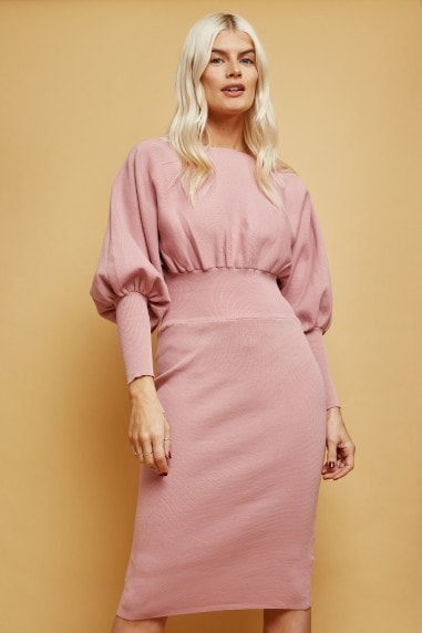 Dusty Pink Knit Puff Sleeve Dress