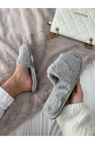 Grey Fluffy Slipper
