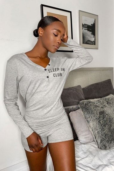 Grey Sleep Club Slogan Pyjama Playsuit