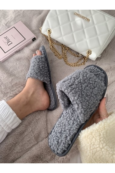 Grey Teddy Bear Slipper